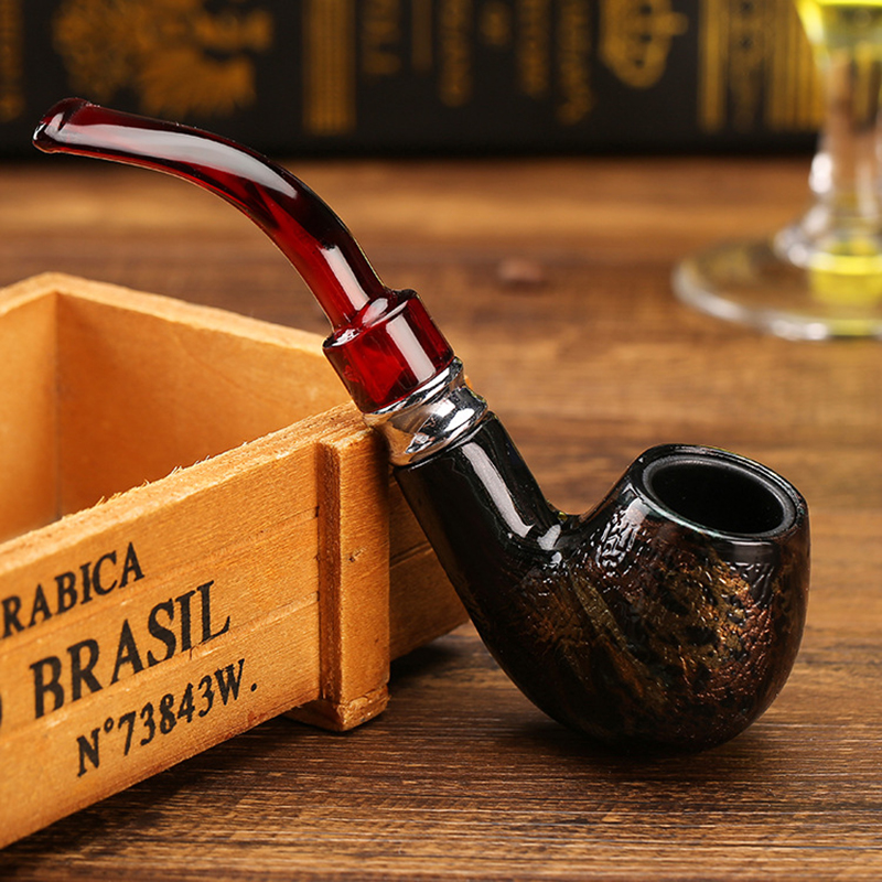 Fashion Snake Scale Resin Pipes Chimney Double Filter Wood Smoking Pipe Herb Tobacco Pipe Cigar Narguile Grinder Smoke