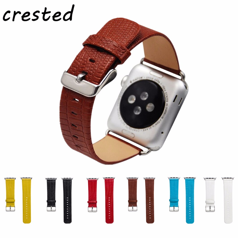 CRESTED PU leather watch strap for apple watch band 42mm/38mm iwatch 3 2 1 band Lizard pattern wrist replacement Watch Strap crested nylon band strap for apple watch band 3 42mm 38mm survival rope wrist bracelet watch strap for apple iwatch 3 2 1 black