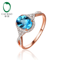 TOP SALE 2 38CT Solid 14CT Rose Gold Natural Flawless Blue Topza Diamond Ring Wholesaler Jewelry
