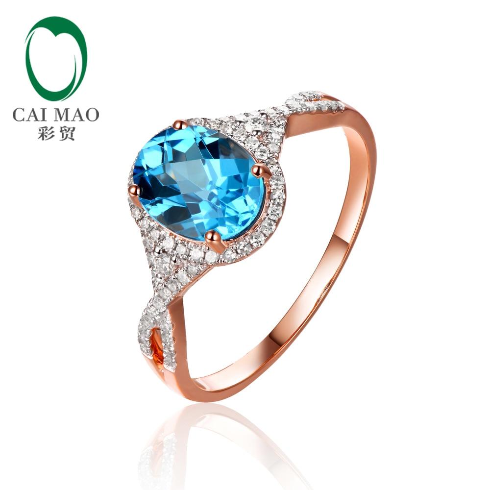 Joyería Caimao 2.19ct Topacio Natural y Diamantes 0.29ct 14 K de Oro Rosa Anillo de Compromiso