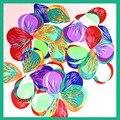 60 cm * 60 cm 100% Bufanda Cuadrada de Seda de Las Mujeres Florales de la Bufanda Bufandas de La Manera 2016 Mini Pañuelo de Seda Estampado de Flores para Señora de La Oficina de Regalo