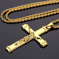 Nyuk جديد أسلوب يسوع الصليب عالية الجودة سميكة الذهب للرجال مجوهرات الصليب المسيحي الأزياء والمجوهرات القلائد وقلادة للهدايا