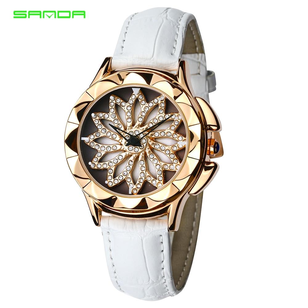 SANDA women brand quartz watch ladies rose gold rotating dial bracelet watch montre femme Women watches reloj mujer wrist watch diamond stylish watches for girls