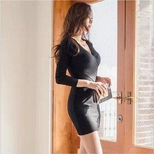 Image 5 - Sweater Dresses Long Sleeve Bandage Bodycon Dress V Neck Black White Knitted Dress Autumn Winter Soft High Elastic Sexy Dress