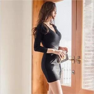 Image 5 - 스웨터 드레스 긴 소매 붕대 bodycon 드레스 v 목 블랙 화이트 니트 드레스 가을 겨울 부드러운 높은 탄성 섹시한 드레스