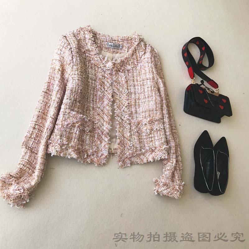 NiceMix 2019 Spring Auttum Plaid Vintage Blends Tassel Pocket O-Neck Women Coat Single Breasted Fashion Feamle Chic Outwear