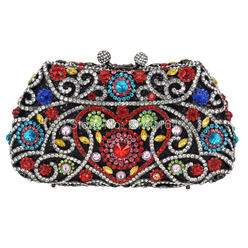 ФОТО New luxury set auger crystal flashing hand bag elegant and colorful ladies dinner ladies bags Fashion cocktail party bag Q70