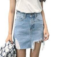 2017 Summer Pencil Skirt High Waist Ripped Jeans Women Skirts Denim Jupe Mini Saia Short Skirt
