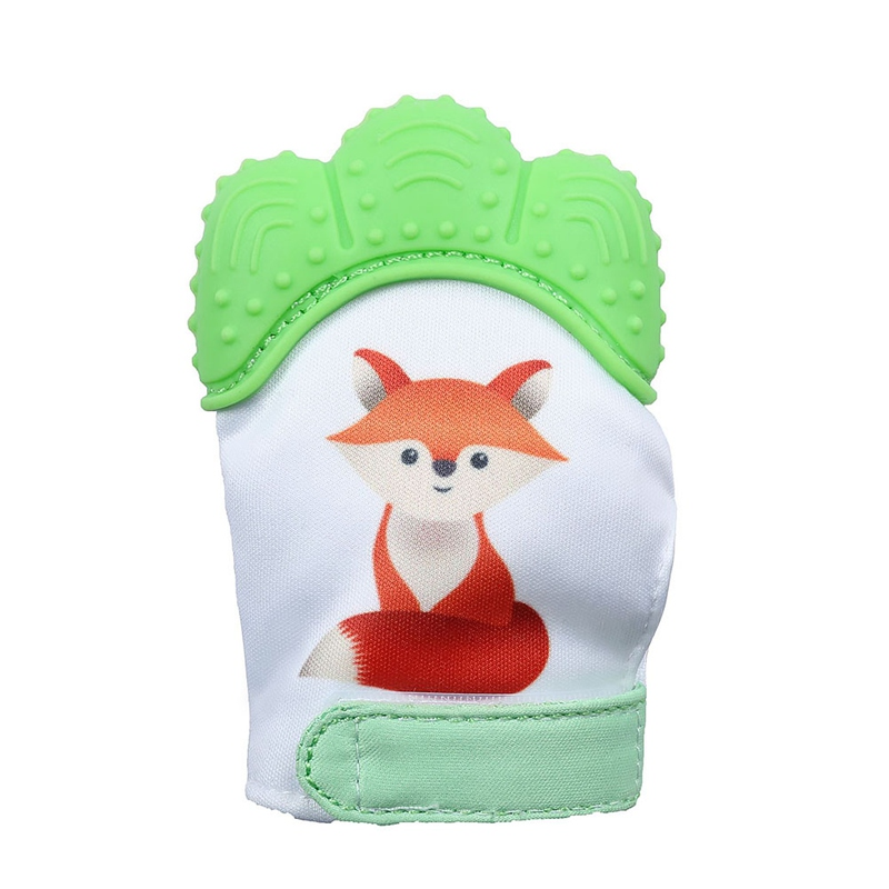 Silicone Baby Fox Print Teether Pacifier Glove Natural Thumb Sound Teething Chewable Nursing Beads Child Give Up Sucking Fingers