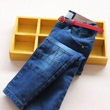 Новое прибытие детские девушки весна осень джинсы девушки модные узкие джинсы С поясом детей карандаш брюки длинные брюки
