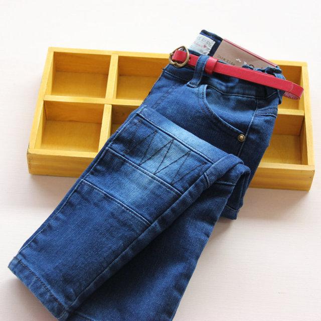 Nova chegada do bebê meninas primavera outono denim calça jeans meninas moda jeans skinny Com cinto crianças calças lápis calças compridas