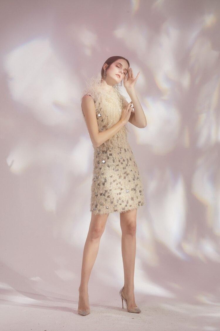 Robe Femmes Parti Manches Base Vestiti Tassel Frings 2019 Jurken Tweed Carreaux Argent Donna De À Réservoir Féminine Sans Mode Dames O5ZqOInxg
