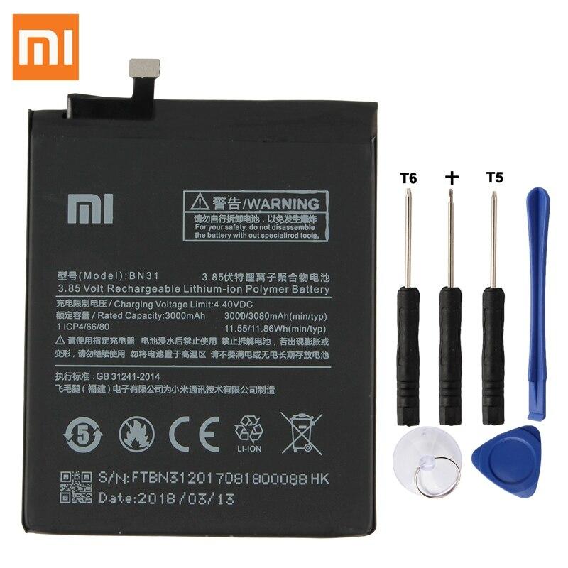 Xiao mi Original Ersatz Batterie BN31 Für Xiao mi mi 5X mi 5X Xiao mi A1 Xiao mi Red mi hinweis 5A Authentische Telefon Batterie 3080 mAh