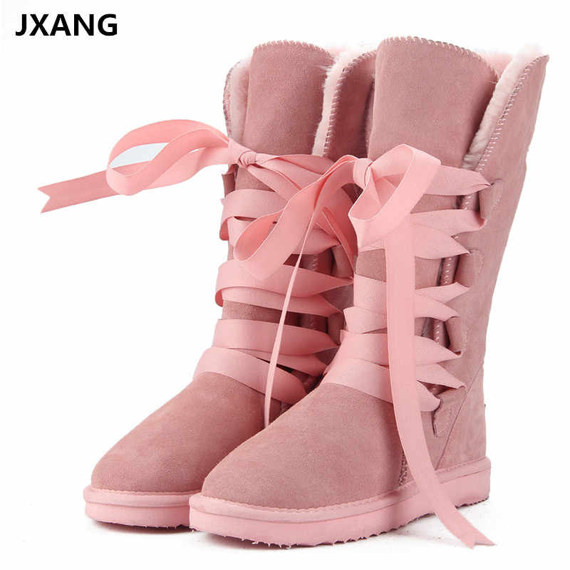 JXANG High Quality  Snow Boots women's winter Boot Women Fashion Genuine Leather Australia Classic Women's High Boot Winter