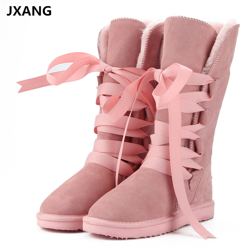 JXANG High Quality Classic Snow Boots Genuine Cowhide Leather Natural Fur Women Boots Fashion Warm Wool Winter Boots large size