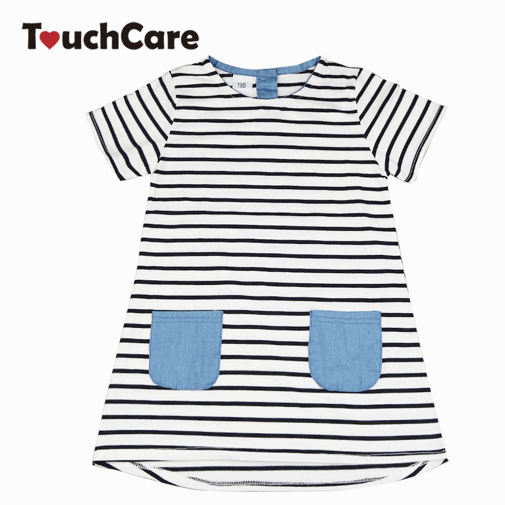 Girls Stripe Short Sleeve Dress A-lines Girl Dresses Cotton Children Princess Costume Summer Clothing Baby Girls Clothes clearance baby dresses princess girls dress 2 5years cotton clothing dress summer clothes for girl