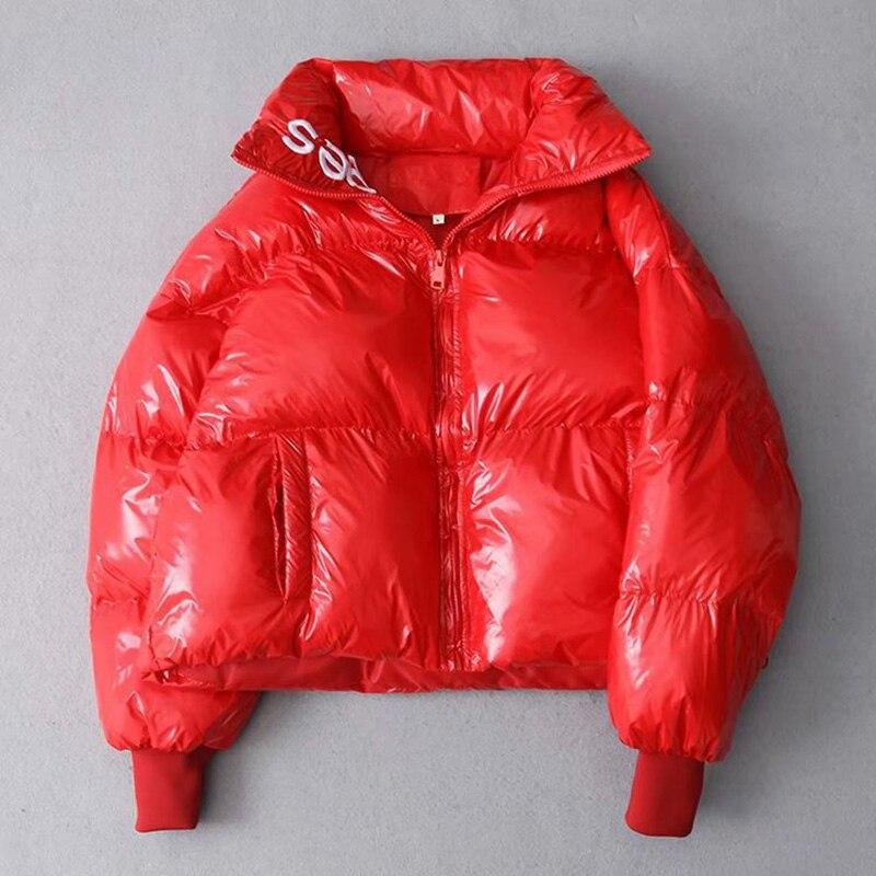 2019 Winter Glossy Down Parka women s Waterproof Coat Embroidery jacket large size Loose Winter Warm