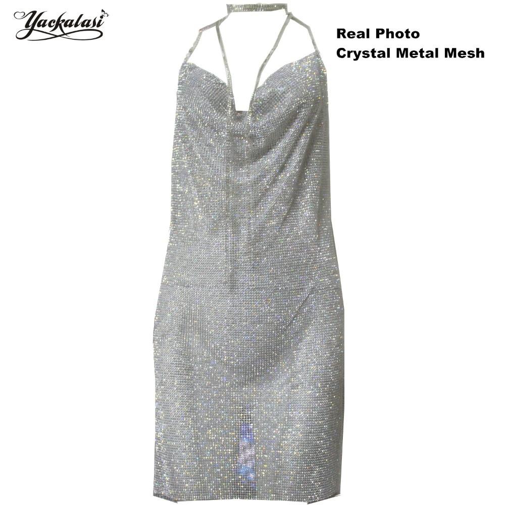 YACKALASI Women Party Dress Crystal Metal Mesh Elegant Club Dress Vesitos Diamond Straps Sexy Deep V Halter Backless