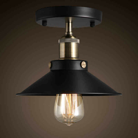 Free Shipping 110 240V Flush Mount Black Color Country Vintage Ceiling Lights D23CM CE And FCC