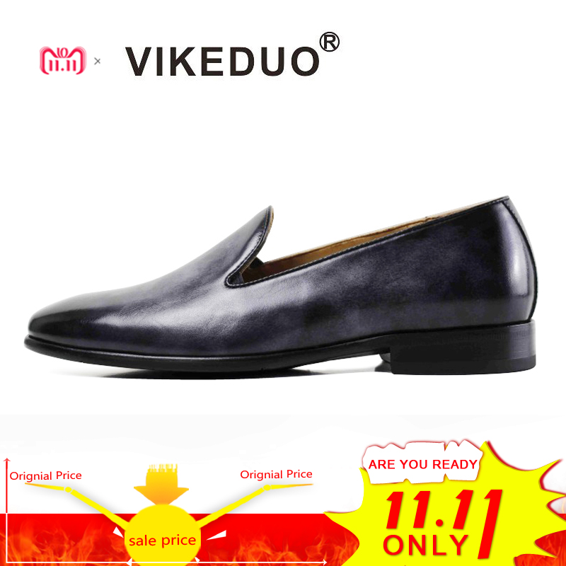 Vikeduo 2018 Hot Handmade Male Designer Dress Fashion Luxury Wedding Party Genuine Leather Flat Casual Shoes Men's Loafer Shoes