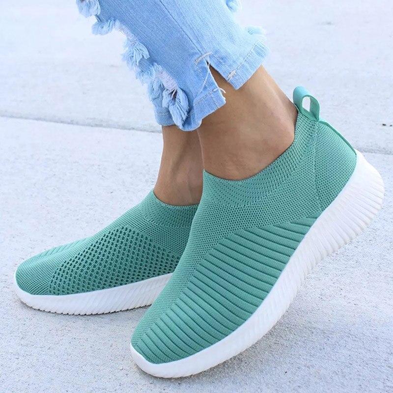 Women Knitting Slip On Autumn Flat Loafers Ladies Plus Size Comfort Breathable Mesh Soft Walking Shoes Female Fashion Footwear mesh slip plus size see thru babydoll