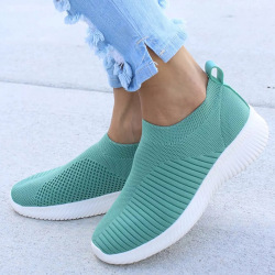 Women Knitting Slip On Autumn Flat Loafers Lady Plus Size Comfort Breathable Mesh Sneaker Walking Shoes Female Fashion Footwear