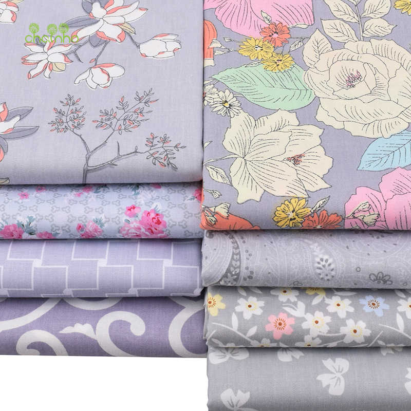 Chainho, 회색 꽃 시리즈, 인쇄 능 직물 코 튼 원단, diy 퀼 팅 바느질 아기 및 어린이 시트, 베개, 소재, 절반 미터