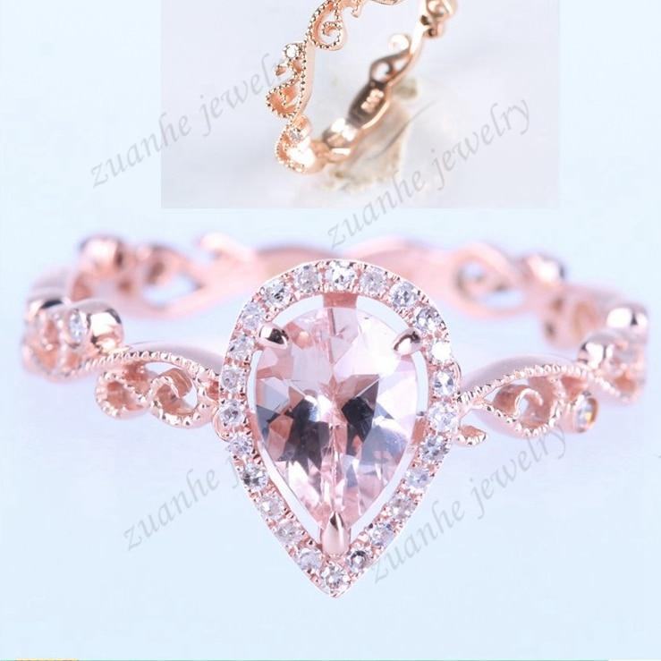 BAIHE 0.5ct 5X7mm Hruška Pravý Morganite Solid 14k Rose Gold Přírodní diamanty Ženy Zásnubní prsten Snubní prsteny Millgrain Style