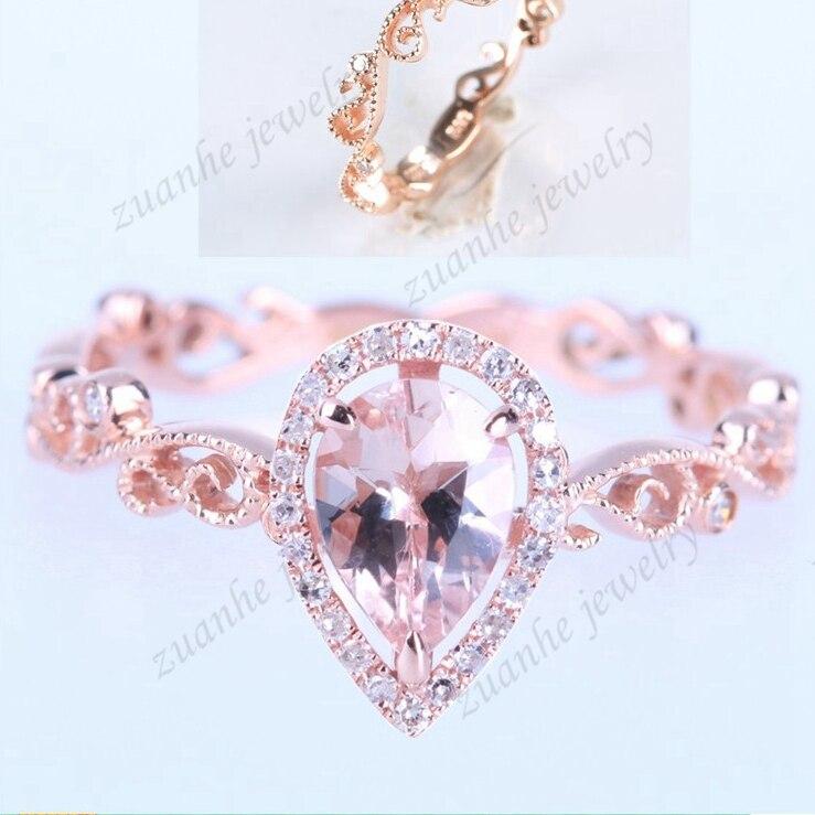 BAIHE 0.5ct 5X7mm poire véritable Morganite solide 14 k or Rose diamants naturels femmes bague de fiançailles de mariage Style Millgrain