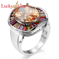 Unique AAAA Handmade Multi Color Champagne Cubic Zirconia Silver Rings Wedding Rings For Women Party Holiday