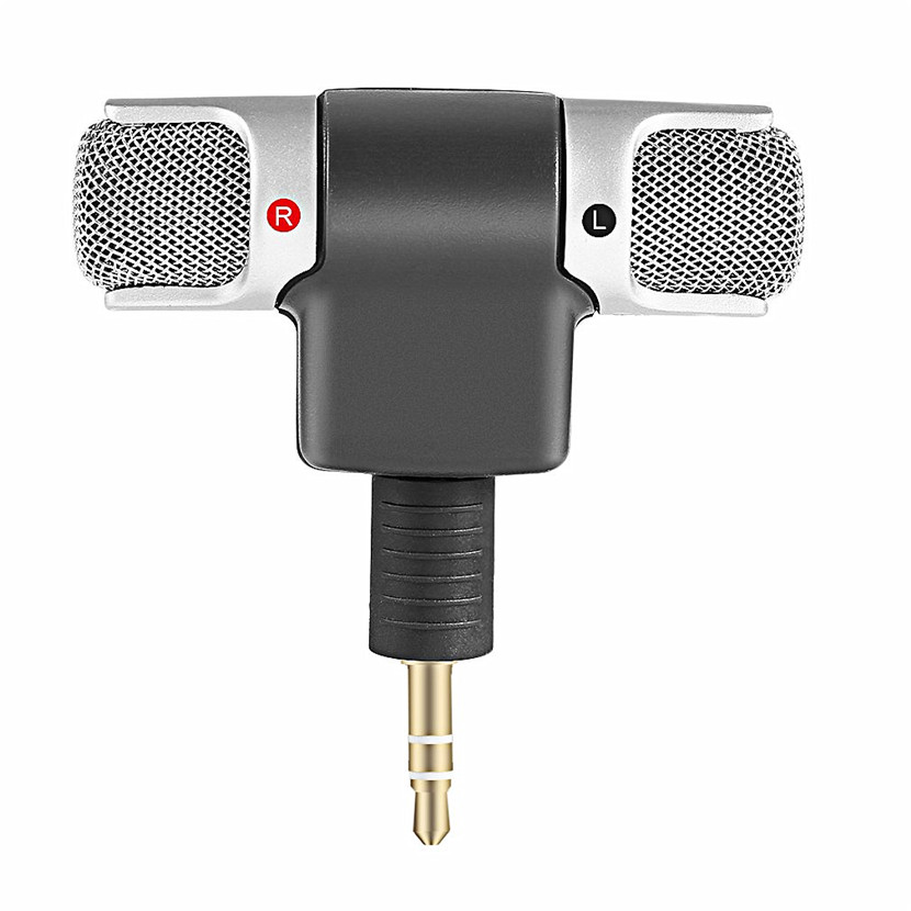 Portable Size Digital Mini Stereo Microphone Mic 3.5mm Mini Jack For PC Laptop Notebook Left and Right Channel Stereo Recording