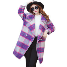 Top Quality2016 Plaid Wool Coat Long Loose Thick Woolen Jacket Female Cocoon Style Big Turn-down Collar Cashmere Overcoat SS992