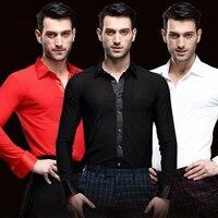 2017 New Arrival Mens Ballroom Dance Tops Beige/Red/Black Dance Top Men Dance Shirt Man Latin Dance Top