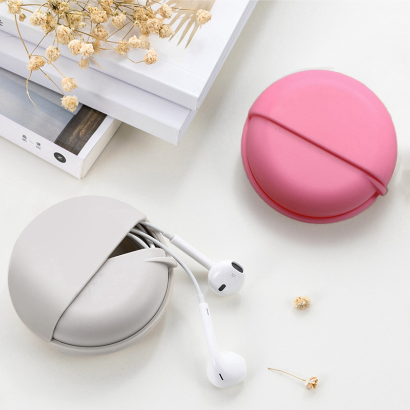 Portable Household Round Slide Push-pull Type Headphone Data Cable Storage Bag For Outdoor Travel Earphone Bag