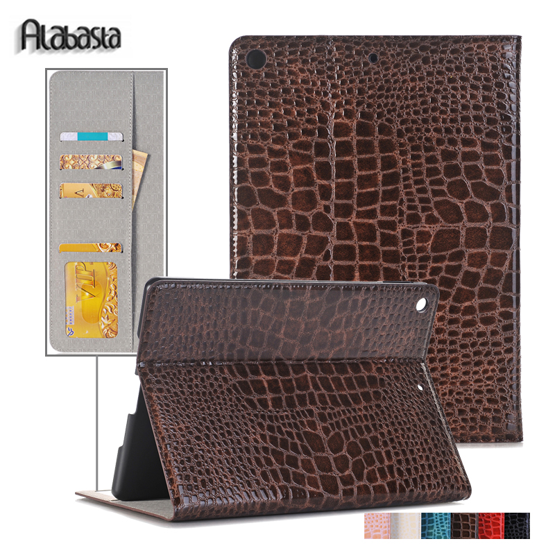 Cover For Apple iPad 6 Air 2 Alabasta Crocodile PU Leather Smart Sleep Cover Stand Flip Case for iPad Air 2 protective shell nice soft silicone back magnetic smart pu leather case for apple 2017 ipad air 1 cover new slim thin flip tpu protective case