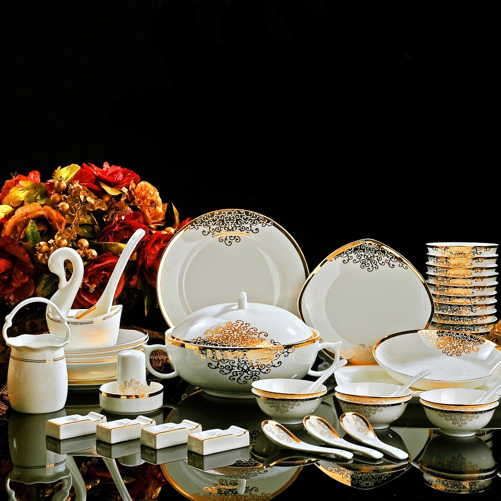 Fine Bone China Dinnerware Sets Golden Family Hot Sale Porcelain Tableware Ch
