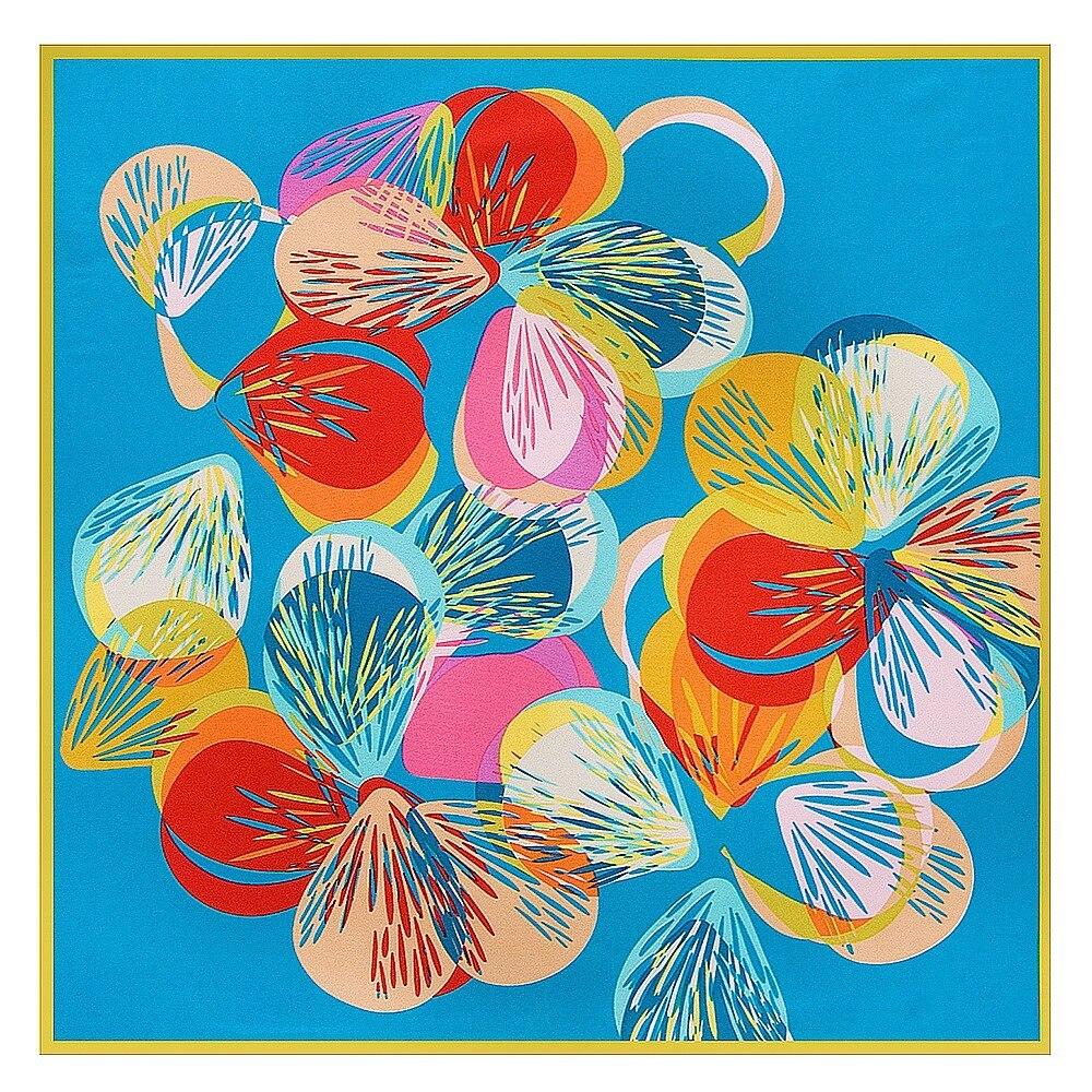 POBING Fashion Women   Scarf   Geometric Butterfly Print Hijab Silk Satin Shawl Scarfs Foulard Square Head   Scarves     Wraps   60*60CM