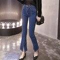 Calças de Brim rasgadas 2017 Blue Jeans Feminino Rasgado Calça Jeans Cintura Alta Jeans Cintura Superestimada Jeans Stretch Verão Feminino Frete Grátis