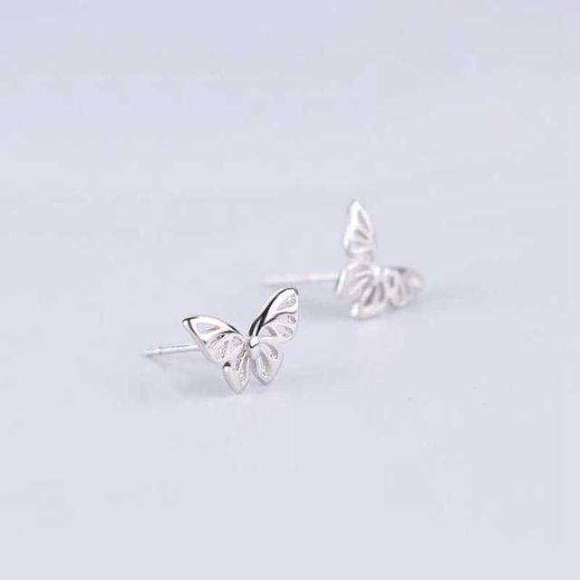 Ruifan Hot Sale High Quality 925 Sterling Silver Stud Earrings for Women Girl Butterfly Shape Small Earrings Fine Jewelry YEA143