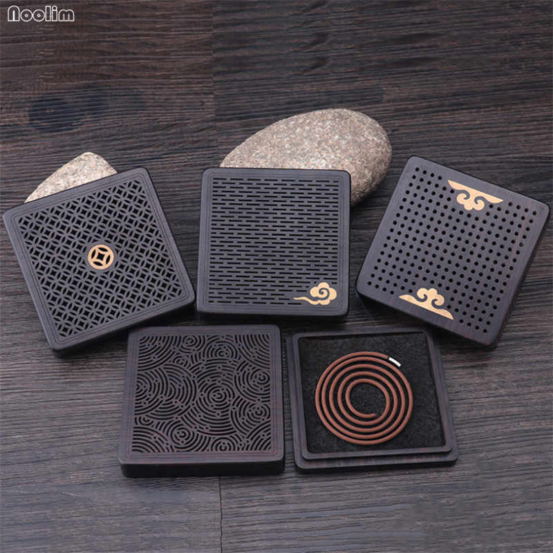Square Ebony Wood Incense Burner Hollow Carved Incense Coil Aromatherapy Plate Box Buddhist Teahouse Sandalwood Incense Censer