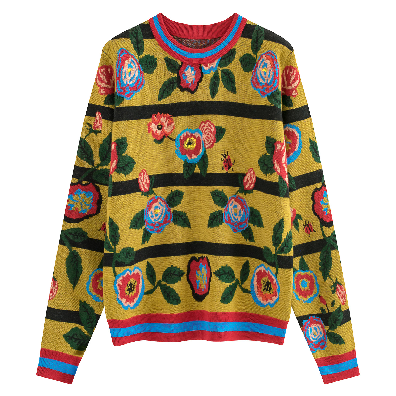 Haute qualité Floral pull femmes 2018 automne hiver nouveaux chandails de piste femmes chaud laine pull Jersey top en tricot Femme pull