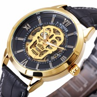 WINNER Latest Cool Black Men Skeleton Auto Mechanical Watch Leather Strap Golden Skull Heavy Metal Punk