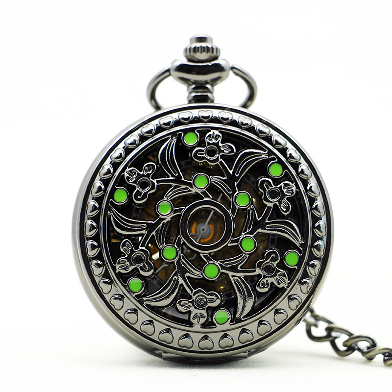 Fashion Vintage Automatic Mechaincal Watch Man Women Pocket Watch Small Green Dot Bloom Classic With Fob Chain PJX1132
