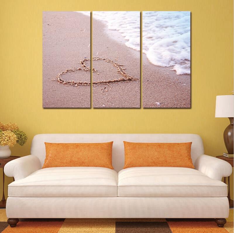 ⊱3 unids no Marcos Pintura sobre tela playa paisaje pared del barco ...