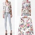 Floral ocasional Blazer Femme Feminino Terno das Mulheres Blazers e Jaquetas 2016 Bleiser Flor Casacos Roupas Americanas Mujer Feminino