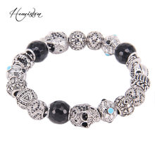 Hemiston Thomas Asia ETHNO Men Bracelet Totems Skull ETHNIC Beads, Karma Bracelet Rebel Heart Jewelry Men TS BK411(China)