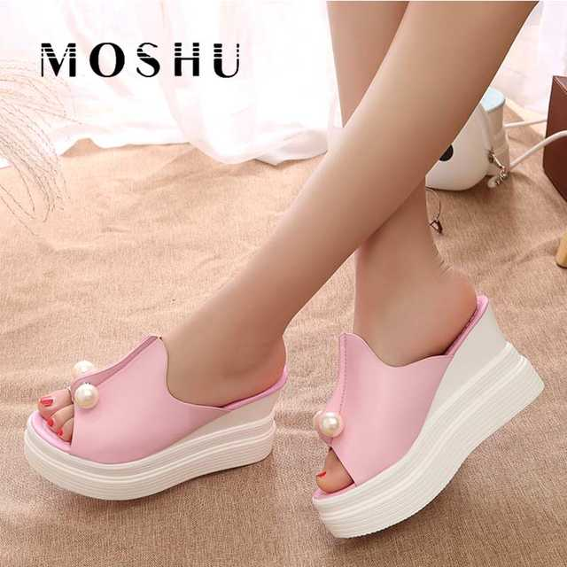 b5c614033fb Online Shop Sexy Women high Heels Platform Sandals Summer Slippers Peep Toe Thick  Heel Slippers Slides Ladies Wedges Shoes Zapatos Mujer