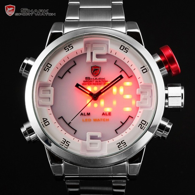 Gulper SHARK Sport Watch Stainless Full Steel Silver Japan Movement Dual Time Date Alarm Quartz Mens Digital Wristwatch / SH104