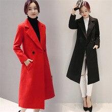 Осень женские длинные шерстяные зимние пальто Куртки Теплые Шерстяные Пальто Женщин Верхняя Одежда Пальто Плюс Размер XXL HY035