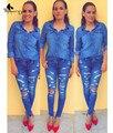 WomensDate Новый 2016 Женские Джинсовые Рубашки Мода Стиль С Длинным Рукавом Повседневная Рубашка Женщины Блузки Плюс Размер Blusa Джинсы Feminina